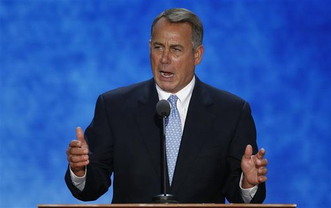Speaker of the U.S. House of Representatives John Boehner addresses the second session of the Republican National Convention in Tampa, Flori