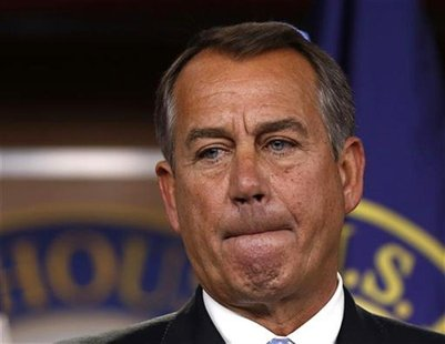 Speaker of the House John Boehner (R-OH) pauses during a news conference on Capitol Hill in Washington, November 9, 2012. REUTERS/Larry Down