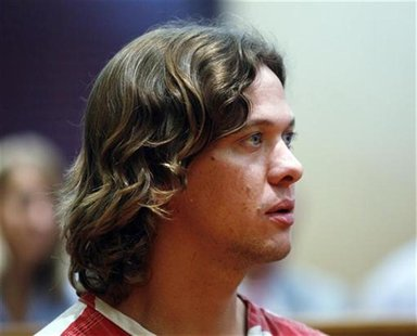 Dylan Dougherty Stanley, 26, appears in a district court to hear charges against him in Walsenburg, Colorado, August 22, 2011. REUTERS/Ed An