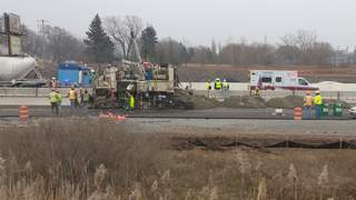 A worker was hurt on the U.S. 41 Project in Ashwaubenon on Friday, Nov. 9, 2012. (courtesy of FOX 11).