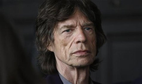 Musician Mick Jagger is seen before the L'Wren Scott Fall/Winter 2012 collection during New York Fashion Week February 16, 2012. REUTERS/Car