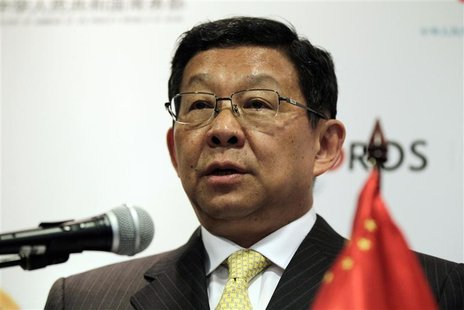 China's Minister of Commerce Chen Deming speaks during a news conference after a bilateral meeting with Colombia's Trade Minister Sergio Dia