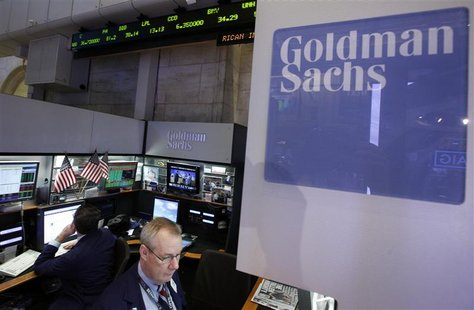 Traders work at the Goldman Sachs stall on the floor of the New York Stock Exchange, October 16, 2012. REUTERS/Brendan McDermid