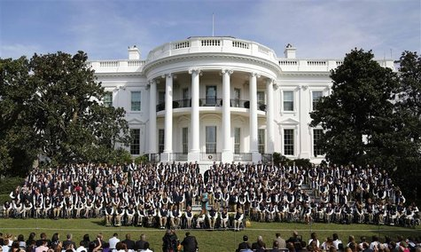 The White House, shown as crowd gathers for a speech.