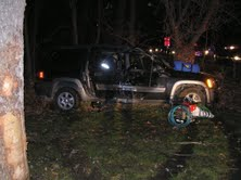 Hit and run driver leaves mess and friend from Kalamazoo behind in his wreck.