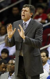Houston Rockets head coach Kevin McHale talks to his players during their NBA basketball game against the Toronto Raptors in Houston Februar