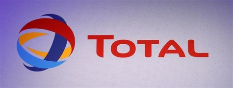 The logo of French oil company Total is seen during the company's 2011 annual result presentation in Paris February 10, 2012. REUTERS/Jacky