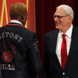Inductee Dennis Rodman (L) and his presenter Hall of Fame Coach Phil Jackson take the stage during the Naismith Memorial Basketball Hall of