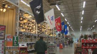 Local businesses honor veterans on Veterans Day weekend by offering discounts, free meals and putting up flag displays, like this one at Home Depot in Green Bay. (courtesy of FOX 11).