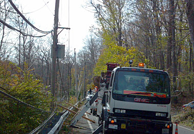 Wisconsin Public Service crews near Long Island Sound assisting with Hurricane Sandy restoration efforts.  Picture courtesy WPS