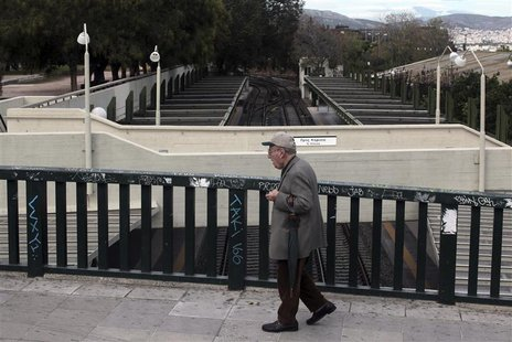 A man walks through an empty train station in Athens November 7, 2012 during a 48-hour strike by the two major Greek workers unions. REUTERS
