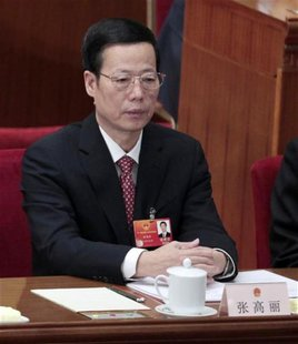 China's Tianjin Municipality Communist Party Secretary Zhang Gaoli attends the closing ceremony of the National People's Congress (NPC), Chi