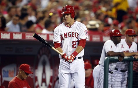 Los Angeles Angels' Mike Trout gets ready to play against the Texas Rangers in their MLB baseball game in Anaheim, California September 20,
