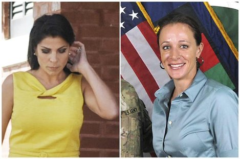 A combination photo shows Jill Kelley (L), a friend of former U.S. General David Petraeus' family, in Tampa, Florida on November 12, 2012 an