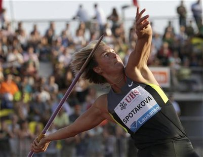 Czech Republic's Barbora Spotakova competes in the women's javelin throw during the Athletissima Diamond League meeting in Lausanne August 2