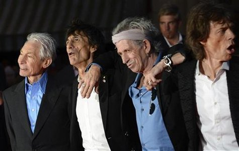 (L - R)The Rolling Stones members Charlie Watts, Ronnie Wood, Keith Richards and Mick Jagger arrive for the world premiere of the Rolling St