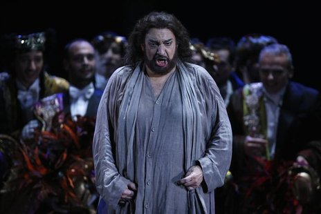 Spanish tenor Placido Domingo performs during the rehearsal of Thais opera by Jules Massenet as part of the Placido Domingo festival at the