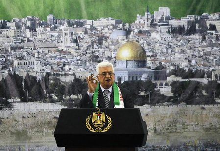 Palestinian President Mahmoud Abbas speaks during a ceremony marking the eighth anniversary of the death of late Palestinian leader Yasser A