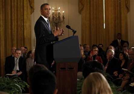President Barack Obama addresses a news conference at the White House in Washington November 14, 2012. REUTERS/Kevin Lamarque