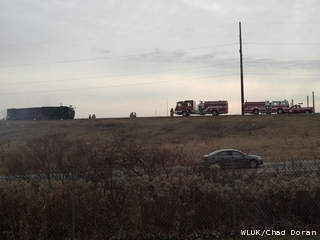 Firefighters respond to an overturned semi on Highway 441 at Appleton Road in Menasha, Nov. 14, 2012. (courtesy of FOX 11).