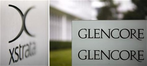Combination of file photos showing the logo of Glencore in front of the company's headquarters in the Swiss town of Baar (R) September 7, 20