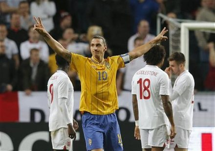 Sweden's Zlatan Ibrahimovic celebrates after scoring against England during their international friendly soccer match at the Friends Arena i
