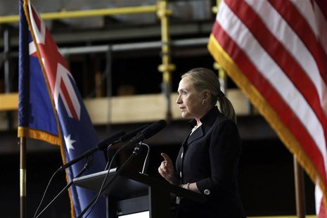 U.S. Secretary of State Hillary Clinton speaks at the Techport Australia shipbuilding facility near Adelaide November 15, 2012. REUTERS/Matt