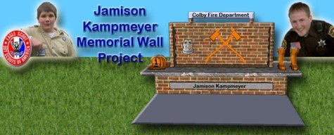 Jamison Kampmeyer Memorial Wall project, organized by Jacob Miller of Dorchester as part of his Eagle Scout project.  Kampmeyer died in the line of duty during a fire at the Abby Theatre early in 2012.