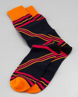 Arthur George by Robert Kardashian Zig Zags Men's Socks, Navy