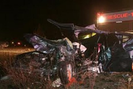 The impact of the head-on collision  with the Pick-up left the car unrecognizable