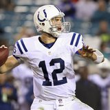 Indianapolis Colts quarterback Andrew Luck drops back for a pass during the second half of their NFL football game against the Jacksonville