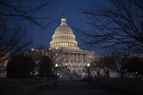Darkness sets in over the U.S. Capitol building hours before U.S. President Barack Obama is set to deliver his State of the Union address to