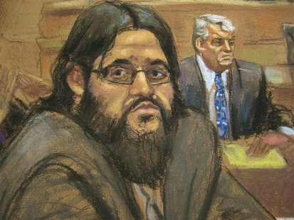 Adis Medunjanin is shown reacting to his guilty verdict in this courtroom sketch in Brooklyn federal court in New York, May 1, 2012. REUTERS