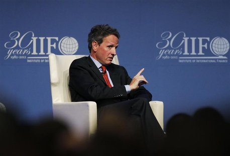 Treasury Secretary Timothy Geithner speaks at the Institute of International Finance (IIF)'s annual meeting in Tokyo October 11, 2012. REUTE