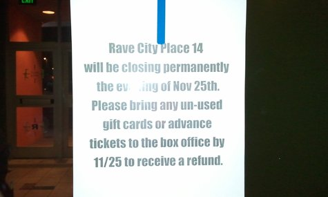 The Rave City Place 14 posted this sign on their doors heading in and out of the theater.