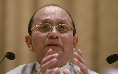 Myanmar's President Thein Sein talks during his first news conference since his re-appointment as head of the ruling party Union Solidarity