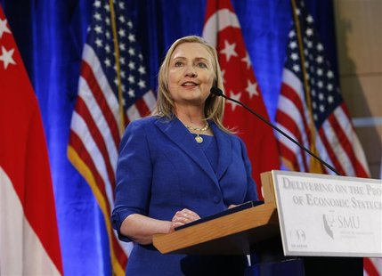 U.S. Secretary of State Hillary Clinton gives a speech at the Singapore Management University in Singapore November 17, 2012. REUTERS/Edgar