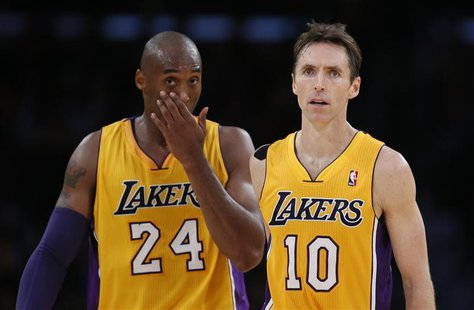 Los Angeles Lakers Steve Nash of Canada (R) and Kobe Bryant react during their loss to the Dallas Mavericks during their NBA basketball game