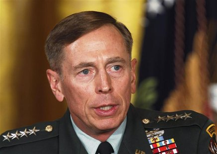 Then U.S. Army Gen. David Petraeus talks at an event in the East Room of the White House in this April 28, 2011 file photo during U.S. Presi