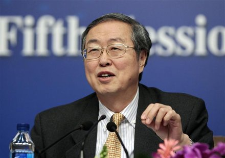 China's Central Bank Governor Zhou Xiaochuan answers a question at a news conference during the ongoing National People's Congress (NPC), Ch