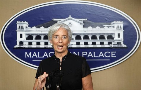 International Monetary Fund Managing Director Christine Lagarde gestures as she answers questions during a news briefing at the presidential