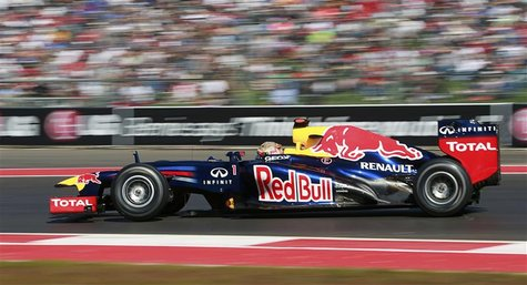 Red Bull Formula One driver Sebastian Vettel of Germany drives during the qualifying session of the U.S. F1 Grand Prix at the Circuit of the
