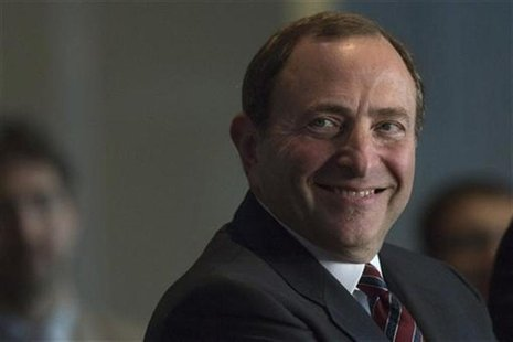 NHL Commissioner Gary Bettman smiles during the announcement that the NHL's New York Islanders will move to the Barclays Center in Brooklyn