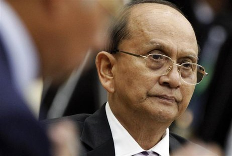 Myanmar's President Thein Sein attends a session of the 21st ASEAN (Association of Southeast Asian Nations) and East Asia summits in Phnom P