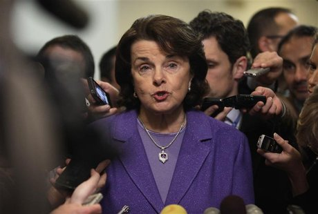 U.S. Senate Intelligence Committee chairman Senator Dianne Feinstein (D-CA) talks to the media after former C.I.A. Director David Petraeus t