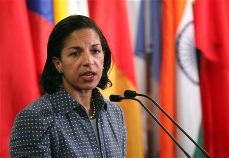 U.S. ambassador to the United Nations Susan Rice speaks with the media after Security Council consultations at U.N. headquarters in New York