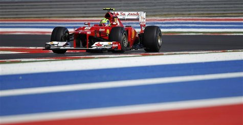 Ferrari Formula One driver Felipe Massa of Brazil drives during the qualifying session of the U.S. F1 Grand Prix at the Circuit of the Ameri