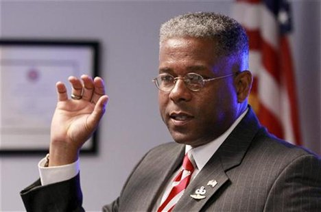 Republican U.S. Rep. Allen West speaks at a campaign stop with guests at SCORE South Palm Beach, a resource partner to the U.S. Small Busine