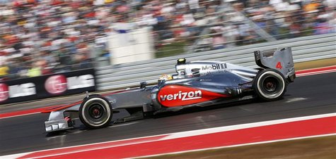 McLaren Formula One driver Lewis Hamilton of Britain drives during the U.S. F1 Grand Prix at the Circuit of the Americas in Austin, Texas No