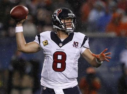 Houston Texans quarterback Matt Schaub (8) throws a pass against the Chicago Bears during the first half of their NFL football game at Soldi